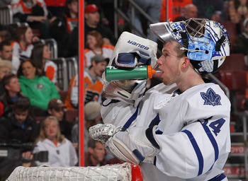 PHILADELPHIA - MARCH 03:  James Reimer #34 of the Toronto Maple Leafs in action against oThe Philadelphia Flyers during their game on March 3, 2011 at The Wells Fargo Center in Philadelphia, Pennsylvania.  (Photo by Al Bello/Getty Images)