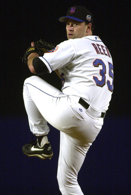 24 Oct 2000:  Starting pitcher #35 Rick Reed of the New York Mets throws a pitch against the New York Yankees during Game 3 of the MLB World Series at Shea Stadium in Flushing, New York. <POOL IMAGE><DIGITAL IMAGE> Mandatory Credit: Allsport USA/ALLSPORT