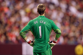 LANDOVER, MD - JULY 30:  Goalie David De Gea #1 of Manchester United stands on the field during their friendly match with Barcelona at FedExField on July 30, 2011 in Landover, Maryland.  (Photo by Rob Carr/Getty Images)