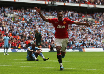 LONDON, ENGLAND - AUGUST 07:  Nani of Manchester United celebrates scoring the winning goal during the FA Community Shield match sponsored by McDonald's between Manchester City and Manchester United at Wembley Stadium on August 7, 2011 in London, England.