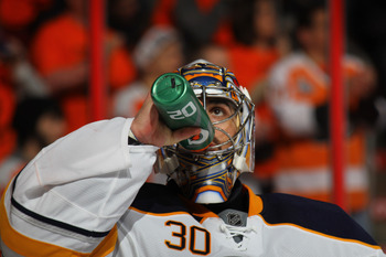 PHILADELPHIA, PA - APRIL 22:  Ryan Miller #30 of the Buffalo Sabres takes a drink of water during the second period against the Philadelphia Flyers in Game Five of the Eastern Conference Quarterfinals during the 2011 NHL Stanley Cup Playoffs at Wells Farg