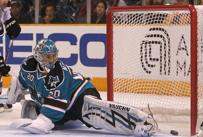 SAN JOSE, CA - APRIL 16:  Evgeni Nabokov #20 of the San Jose Sharks makes a save against the Colorado Avalanche in Game Two of the Western Conference Quarterfinals during the 2010 NHL Stanley Cup Playoffs at HP Pavilion on April 16, 2010 in San Jose, Cali
