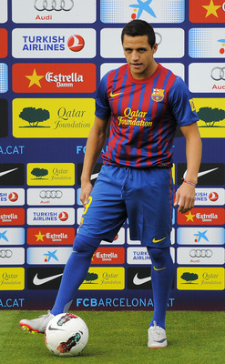 BARCELONA, SPAIN - JULY 25:  Alexis Sanchez from Chile poses during his presentation as the new signed player for FC Barcelona at the Joan Gamper training camp sports complex on July 25, 2011 in Barcelona, Spain.  (Photo by David Ramos/Getty Images)