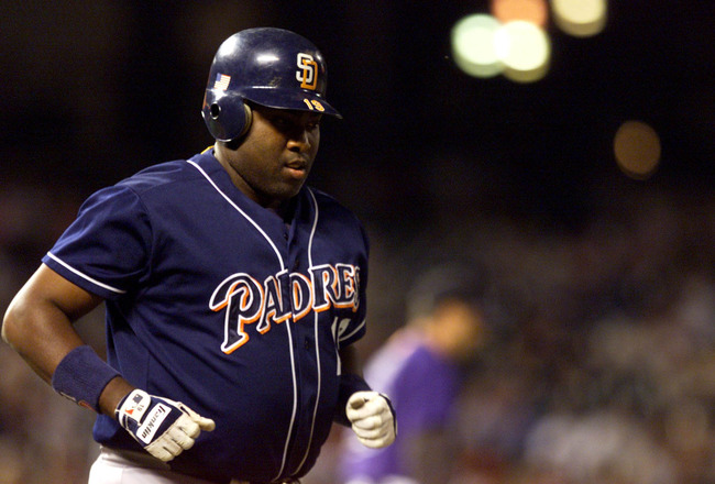 26 Sep 2001: Tony Gwynn of the San Diego Padres rounds bases against the Colorado Rockies during the game at Coors Field in Denver, Colorado. The Padres won 3-1. DIGITAL IMAGE. Mandatory Credit: Brian Bahr/Allsport