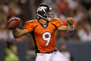 DENVER - AUGUST 21:  Quarterback Brady Quinn #9 of the Denver Broncos delivers a pass against the Detroit Lions during preseason NFL action at INVESCO Field at Mile High on August 21, 2010 in Denver, Colorado. The Lions defeated the Broncos 25-20.  (Photo