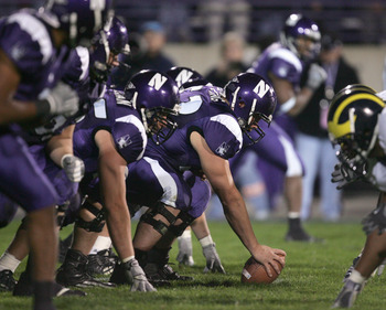 EVANSTON, IL - OCTOBER 29:  The Northwestern Wildcats offensive linemen line up for the snap during the game against the Michigan Wolverines on October 29, 2005 at Ryan Field at Northwestern University in Evanston, Illinois. Michigan defeated Northwestern