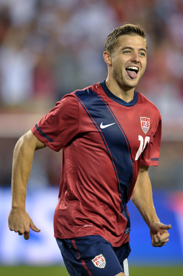PHILADELPHIA, PA - AUGUST 10: Robbie Rogers #16 of the United States celebrates his second half goal during the game against Mexico at Lincoln Financial Field on August 10, 2011 in Philadelphia, Pennsylvania. The game ended 1-1. (Photo by Drew Hallowell/G