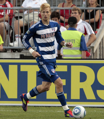 TORONTO, CANADA - JULY 20:  Brek Shea #20 of FC Dallas carries the ball during MLS action against Toronto FC at BMO Field July 20, 2011 in Toronto, Ontario, Canada. (Photo by Abelimages/Getty Images)