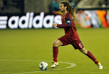 PORTLAND, OR - APRIL 30: Kyle Beckerman #5 of the Real Salt Lake brings the ball up the field during the second half of the game against the Portland Timbers at Jeld-Wen Field on April 30, 2011 in Portland, Oregon. The Timbers won the game 1-0. (Photo by