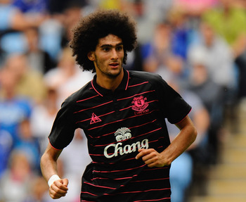 COVENTRY, ENGLAND - AUGUST 02: Marouane Fellani of Everton  during the pre season friendly match between Coventry City and Everton at the Ricoh Arena on August 2, 2009 in Coventry, England.  (Photo by Michael Regan/Getty Images)