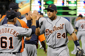 BALTIMORE, MD - AUGUST 12:  Miguel Cabrera #24 of the Detroit Tigers celebrates with teammates after a 5-4 victory against the Baltimore Orioles at Oriole Park at Camden Yards on August 12, 2011 in Baltimore, Maryland.  (Photo by Greg Fiume/Getty Images)