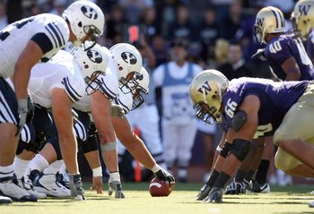 SEATTLE - SEPTEMBER 6:  The BYU Cougars offense lines up against the Washington Huskies defense during their game on September 6, 2008 at Husky Stadium in Seattle, Washington. The Cougars defeated the Huskies 28-27. (Photo by Otto Greule Jr/Getty Images)
