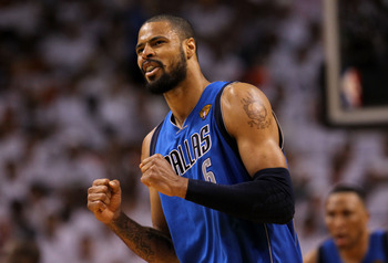 MIAMI, FL - JUNE 12:  Tyson Chandler #6 of the Dallas Mavericks reacts against the Miami Heat in the third quarter of Game Six of the 2011 NBA Finals at American Airlines Arena on June 12, 2011 in Miami, Florida. NOTE TO USER: User expressly acknowledges