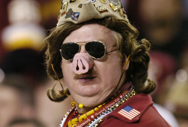 Washington Redskins  fan is outfitted in the glofy days of The Hogs   at FedEx Field, September 27, 2004 in Landover, Maryland. The  Dallas Cowboys defeated the Redskins 21 to 18.  (Photo by Al Messerschmidt/Getty Images)