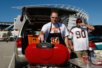 CINCINNATI, OH - SEPTEMBER 13: Bengal fans tailgate in the parking lots outside of Paul Brown Stadium prior to the game between the Denver Broncos against the Cincinnati Bengals at Paul Brown Stadium on September 13, 2009 in Cincinnati, Ohio. (Photo by Sc