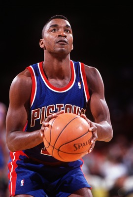 11 May 1994: DETROIT POINT GUARD ISIAH THOMAS AT FREE THROW LINE DURING THE PISTONS GAME AT THE DENVER NUGGETS.