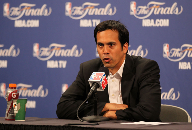 MIAMI, FL - JUNE 02:  Head coach Erik Spoelstra of the Miami Heat addresses the media after the Dallas Mavericks defeat the Heat 95-93 in Game Two of the 2011 NBA Finals at American Airlines Arena on June 2, 2011 in Miami, Florida. NOTE TO USER: User expr