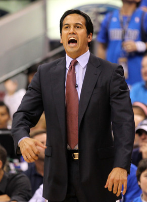 DALLAS, TX - JUNE 05:  Head coach Erik Spoelstra of the Miami Heat looks on while taking on the Dallas Mavericks in Game Three of the 2011 NBA Finals at American Airlines Center on June 5, 2011 in Dallas, Texas.  NOTE TO USER: User expressly acknowledges