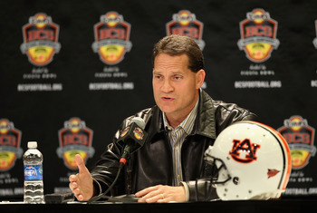 SCOTTSDALE, AZ - JANUARY 11:  Head coach Gene Chizik of the Auburn Tigers speaks to the media during a press conference for the Tostitos BCS National Championship Game at the JW Marriott Camelback Inn on January 11, 2011 in Scottsdale, Arizona.  (Photo by