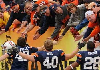 TAMPA, FL - JANUARY 1: Fans of the Auburn Tigers applaud a victory  against the Northwestern Wildcats in the Outback Bowl January 1, 2010 at Raymond James Stadium in Tampa, Florida.  (Photo by Al Messerschmidt/Getty Images)