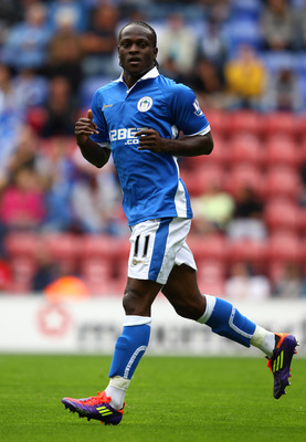 WIGAN, ENGLAND - AUGUST 07:  Victor Moses of Wigan Athletic in action during the pre season friendly match between Wigan Athletic and Villarreal   at DW Stadium on August 7, 2011 in Wigan, England.  (Photo by Clive Brunskill/Getty Images)