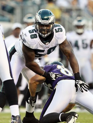 PHILADELPHIA, PA - AUGUST 11:  Trent Cole #58 of the Philadelphia Eagles in action against the Baltimore Ravens during their pre season game on August 11, 2011 at Lincoln Financial Field in Philadelphia, Pennsylvania.  (Photo by Jim McIsaac/Getty Images)