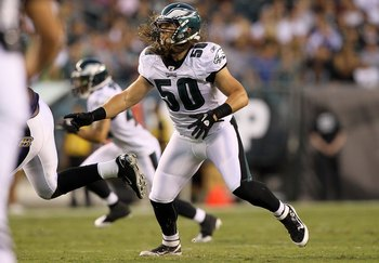 PHILADELPHIA, PA - AUGUST 11:  Casey Matthews #50 of the Philadelphia Eagles in action against the Baltimore Ravens during their pre season game on August 11, 2011 at Lincoln Financial Field in Philadelphia, Pennsylvania.  (Photo by Jim McIsaac/Getty Imag
