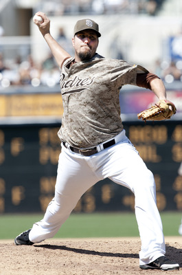 SAN DIEGO, CA - JULY 31: Chad Qualls #50 of the San Diego Padres throws a pitch during the game against the Colorado Rockies at Petco Park on July 31, 2011 in San Diego, California. (Photo by Kent C. Horner/Getty Images)