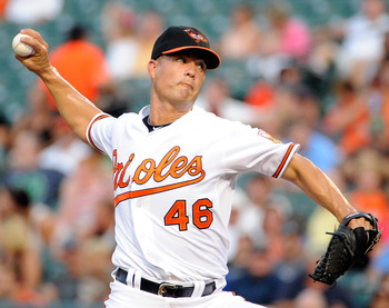 BALTIMORE, MD - AUGUST 08:  Jeremy Guthrie #46 of the Baltimore Orioles pitches against the Chicago White Sox at Oriole Park at Camden Yards on August 8, 2011 in Baltimore, Maryland.  (Photo by Greg Fiume/Getty Images)