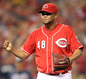 CINCINNATI, OH - JULY 24:  Francisco Cordero #48 of the Cincinnati Reds celebrates after closing out the 9th inning during the game against the Atlanta Braves at Great American Ball Park at Great American Ball Park on July 24, 2011 in Cincinnati, Ohio.  (