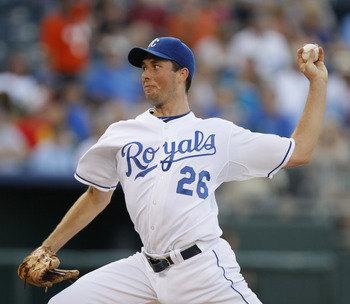 KANSAS CITY, MO - AUGUST 04: Jeff Francis #26 of the Kansas City Royals throws during a game against the Baltimore Orioles at Kauffman Stadium on August 4, 2011 in Kansas City, Missouri. The Kansas City Royals won 9-4. (Photo by Ed Zurga/Getty Images)