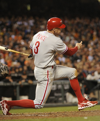 SAN FRANCISCO, CA - AUGUST 4: Hunter Pence #3 of the Philadelphia Phillies gets an RBI single against the San Francisco Giants in the ninth inning during a MLB baseball game at AT&T Park August 4, 2011 in San Francisco, California. The Phillies won the ga