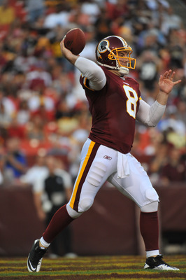 LANDOVER, MD - AUGUST 12:  Rex Grossman #8 of the Washington Redskins passes against the Pittsburgh Steelers  at FedExField on August 12, 2011 in Landover, Maryland. The Redskins are tied with the Steelers 7-7 at the half. (Photo by Larry French/Getty Ima