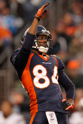 DENVER, CO - JANUARY 2:  Wide receiver Brandon Lloyd #84 of the Denver Broncos acknowledges the crowd  after an announcement to honor him for making the Pro Bowl team during a break in the action against the San Diego Chargers at INVESCO Field at Mile Hig