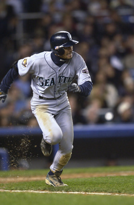 BRONX, NY - OCTOBER 22:  Leftfielder Ichiro Suzuki #51 of the Seattle Mariners runs to first base against the New York Yankees during game five of the American League Championship Series on October 22, 2001 at Yankee Stadium in the Bronx, New York.  The Y