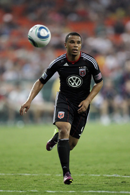 WASHINGTON, DC - JULY 20: Charlie Davies #9 of D.C. United controls the ball against the New England Revolution at RFK Stadium on July 20, 2011 in Washington, DC. The Revolution won 1-0. (Photo by Ned Dishman/Getty Images)