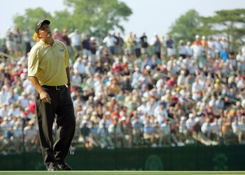 MAMARONECK, NY - JUNE 18:  Phil Mickelson reacts to a missed putt during the final round of the 2006 US Open Championship at Winged Foot Golf Club on June 18, 2006 in Mamaroneck, New York. Geoff Ogilvy won the US Open with a one stroke victory.  (Photo by