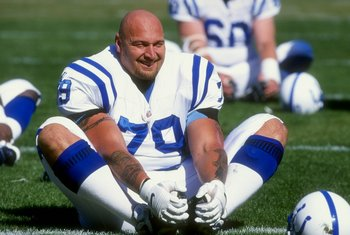 18 Oct 1998:  Guard Tony Mandarich #79 of the Indianapolis Colts does exercises prior to the game against the San Francisco 49ers at 3 Com Park in San Francisco, California. The 49ers defeated the Colts 34-31. Mandatory Credit: Tom Hauck  /Allsport