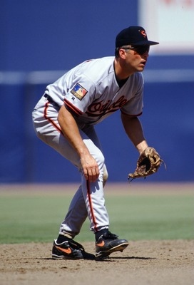 17 JUL 1994:  SHORTSTOP CAL RIPKEN JR. OF THE BALTIMORE ORIOLES PREPARES TO FIELD DURING A 10-5 VICTORY OVER THE ANGELS AT ANAHEIM STADIUM IN ANAHEIM, CALIFORNIA. Mandatory Credit: J.D. Cuban/ALLSPORT