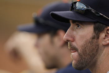 KANSAS CITY, MO - AUGUST 07: Justin Verlander #35 of the Detroit Tigers watches their game against the Kansas City Royals in the sixth inning at Kauffman Stadium on August 7, 2011 in Kansas City, Missouri.  (Photo by Ed Zurga/Getty Images)