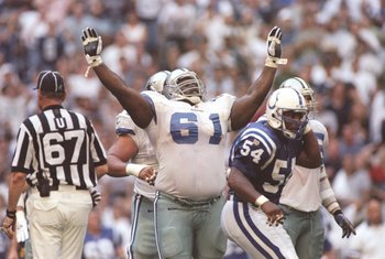 15 Sep 1996:  Offensive lineman Nate Newton of the Dallas Cowboys celebrates during a game against the Indianapolis Colts at Texas Stadium in Irving,Texas.  The Colts won the game, 25-24. Mandatory Credit: Brian Bahr  /Allsport