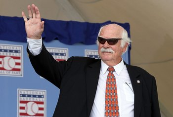 COOPERSTOWN, NY - JULY 24:  Hall of Famer Gaylord Perry is introduced at Clark Sports Center during the Baseball Hall of Fame induction ceremony on July 24, 2011 in Cooperstown, New York.  (Photo by Jim McIsaac/Getty Images)