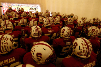 MIAMI, FL - JANUARY 03:  The Stanford Cardinal stand in the tunnel prior to taking the field to play against the Virginia Tech Hokies during the 2011 Discover Orange Bowl at Sun Life Stadium on January 3, 2011 in Miami, Florida.  (Photo by Streeter Lecka/