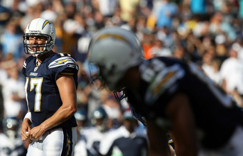 SAN DIEGO, CA - AUGUST 11:  Quarterback Philip Rivers #17 of the San Diego Chargers calls plays at the line of scrimmage against the Seattle Seahawks during their  NFL preseason game on August 11, 2011 at Qualcomm Stadium in San Diego, California. (Photo