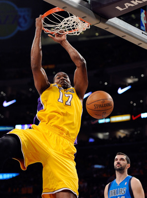 LOS ANGELES, CA - MAY 02:  Andrew Bynum #17 of the Los Angeles Lakers dunks the ball in the second quarter against the Dallas Mavericks in Game One of the Western Conference Semifinals in the 2011 NBA Playoffs at Staples Center on May 2, 2011 in Los Angel