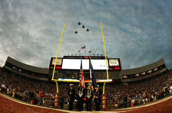 TALLAHASSEE, FL - SEPTEMBER 07:  FA-18 fighter jets do a missing man fly-over to honor FSU graduate and U.S. Navy pilot Scott Speicher who was shot down in the first Gulf War during pre-game ceremonies as the Miami Hurricanes prepare to take on the Florid