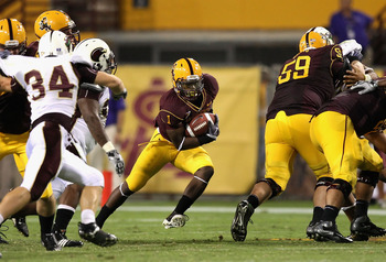 TEMPE, AZ - SEPTEMBER 19:  Runningback Ryan Bass #1 of the Arizona State Sun Devils rushes the ball for 5 yards against the Louisiana Monroe Warhawks during the college football game at Sun Devil Stadium on September 19, 2008 in Tempe, Arizona. The Sun De