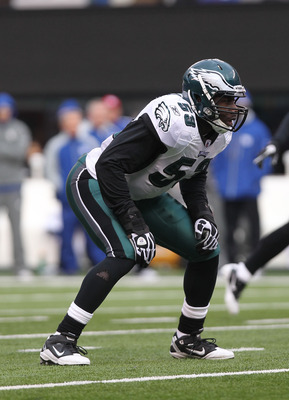 EAST RUTHERFORD, NJ - DECEMBER 19: Moise Fokou #53 of the Philadelphia Eagles against the New York Giants at New Meadowlands Stadium on December 19, 2010 in East Rutherford, New Jersey.  (Photo by Nick Laham/Getty Images)
