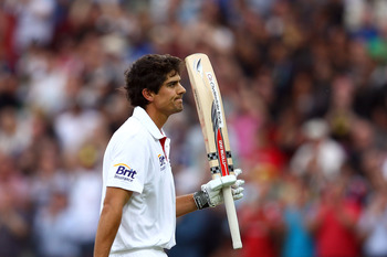 BIRMINGHAM, ENGLAND - AUGUST 12:  Alastair Cook of England walks off after finally getting out for 294 during day three of the 3rd npower Test at Edgbaston on August 12, 2011 in Birmingham, England.  (Photo by Richard Heathcote/Getty Images)