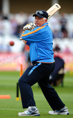 NOTTINGHAM, ENGLAND - JULY 29: Duncan Fletcher of India puts his players through practice ahead of the second npower Test Match between England and India at Trent Bridge on July 29, 2011 in Nottingham, England.  (Photo by Laurence Griffiths/Getty Images)